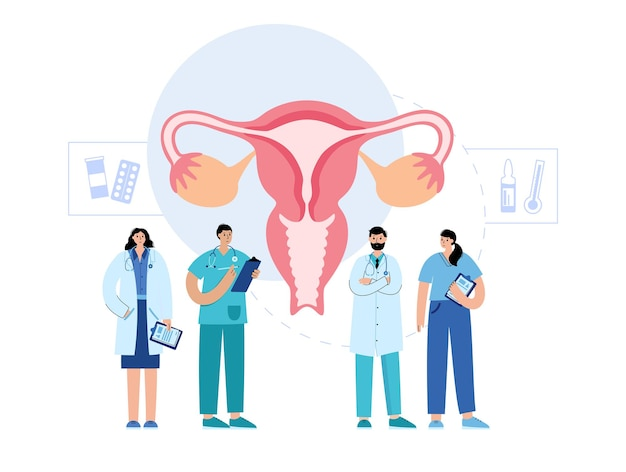 Gynaecologie concept baarmoeder en artsen met medicijnen