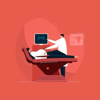 Gynaecologie met behulp van ultrasound scanner onderzoek van zwangere vrouwelijke patiënt door een arts