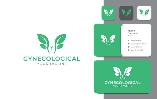 Gynaecologische blad logo ontwerp kanker vagina gezondheid expert arts voor medische chirurgie