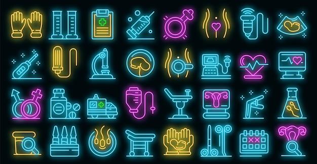 Gynaecoloog pictogrammen instellen. overzicht set van gynaecoloog vector iconen neon kleur op zwart