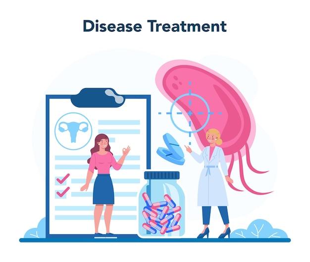 Gynaecoloog, reproductoloog en gezondheidsconcept voor vrouwen. menselijke anatomie, eierstok en baarmoeder. ziektebehandeling. geïsoleerde illustratie in cartoon-stijl
