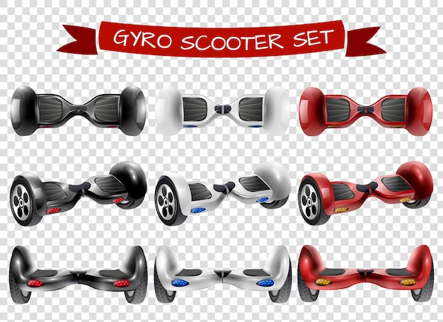 Gyro-scooter view set transparante achtergrond