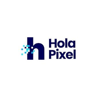 H brief kleine pixel mark digitale 8 bit logo vector pictogram illustratie