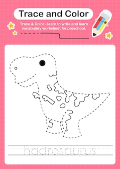 H overtrekwoord voor dinosaurussen en kleurwerkblad met het woord hadrosaurus