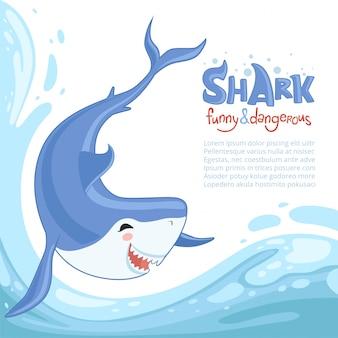 Haai aanval achtergrond, blauwe gevaarlijke vis met grote tanden zwemmen zee oceaanwater, cartoon achtergrond dier springen spatten
