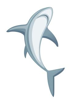 Haai gigantische apex roofdier cartoon dier ontwerp platte vectorillustratie