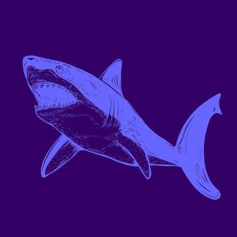 Haai gloed in de donkere kleurenillustratie