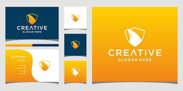 Haai-logo-ontwerp met visitekaartjesjabloon