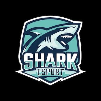 Haai mascotte esport logo ontwerp