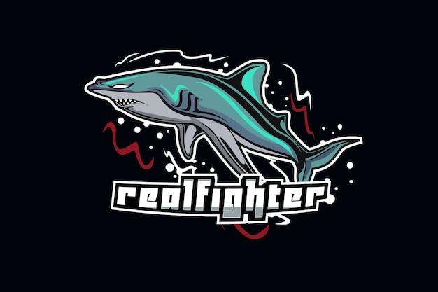 Haai mascotte voor sport en esports-logo geïsoleerd op een donkere achtergrond