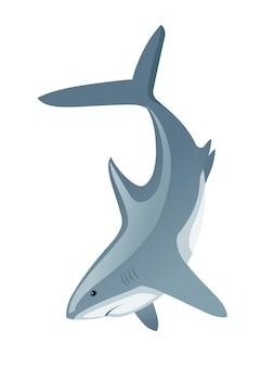 Haai met mond gesloten gigantische apex roofdier cartoon dierlijk ontwerp platte vectorillustratie
