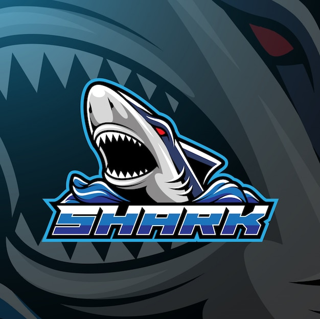 Haai sport mascotte logo ontwerp