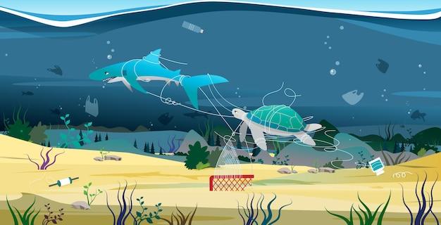 Haaien en schildpadden proberen te ontsnappen uit het puin in de zee