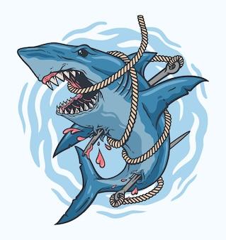 Haaienjager, verstrikt in pijltouw Premium Vector