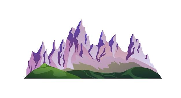 Haaienpieken van rotsachtige bergen groene grasheuvels