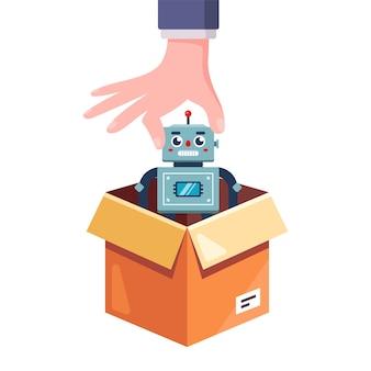 Haal een speelgoedrobot uit de doos. geef een cadeau op de verjaardag van het kind. vlakke afbeelding