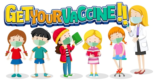Haal uw vaccin-lettertype met veel kinderen die in de rij wachten om het covid-19-vaccin te krijgen