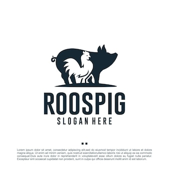 Haan en varken, dierenboerderij, inspiratie voor logo-ontwerp
