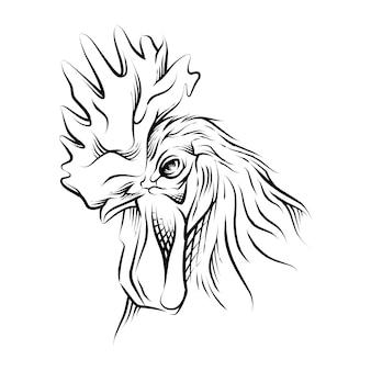 Haan hoofd hand getekende illustratie