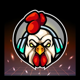 Haan hoofd mascotte esport logo ontwerp