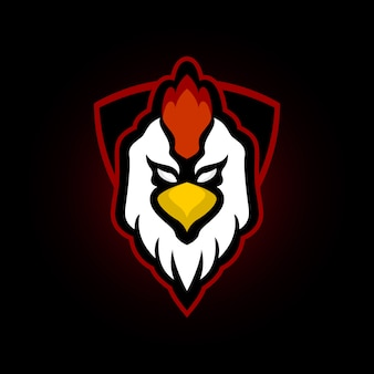 Haan kip mascotte logo voor e sportteam
