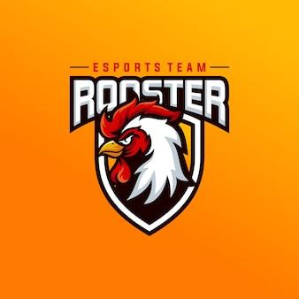 Haan mascotte sport logo ontwerp