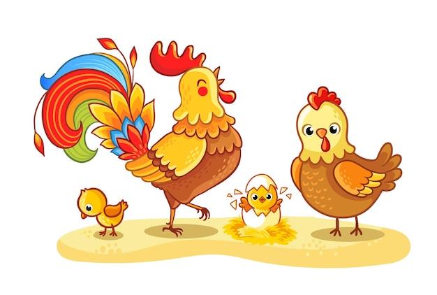 Haan met kip en kippen loopt op een open plek familie kip