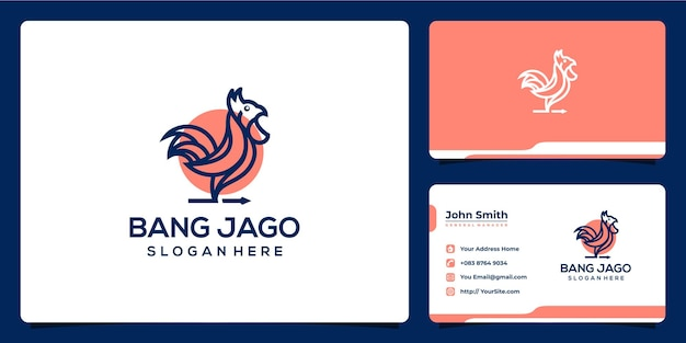 Haan monoline logo ontwerp en visitekaartje