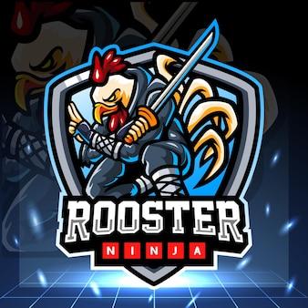 Haan ninja mascotte esport logo ontwerp