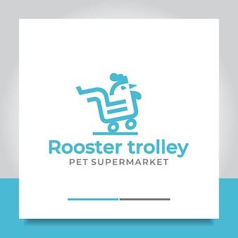 Haan trolley logo ontwerp markt dier