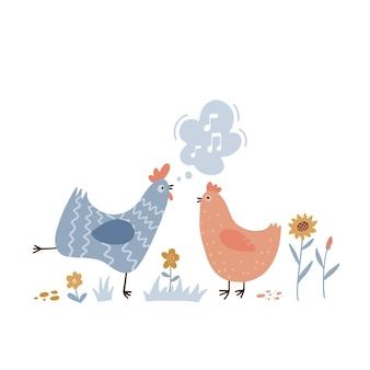 Haan zingt liedjes voor kip schattige en grappige kip luisterend naar kraaiende kleurrijke platte handgetekende v ...