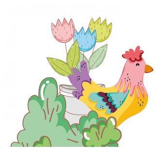 Haanvogellandbouwbedrijf met tuin