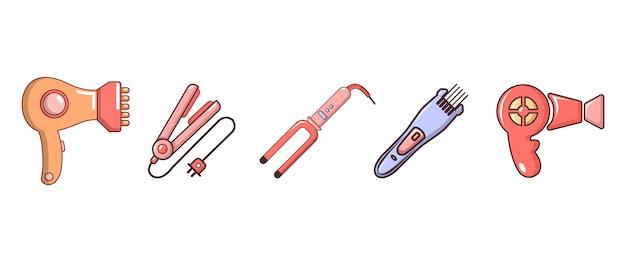 Haar hulpmiddelen pictogramserie. beeldverhaalreeks vectorpictogrammen van haarhulpmiddelen geplaatst geïsoleerd