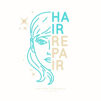 Haar reparatie. heldere poster voor de kapper. elementen voor het knippen en stylen van haar. illustratie.
