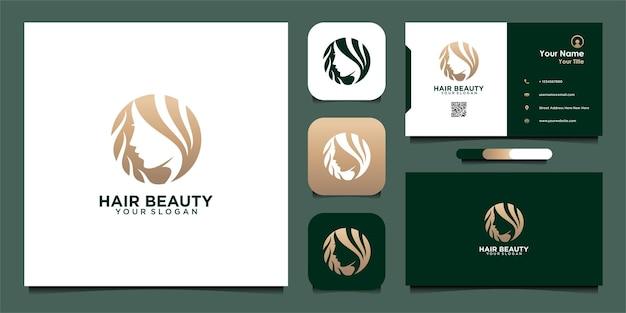 Haar schoonheid logo ontwerpsjabloon met vrouw en visitekaartje