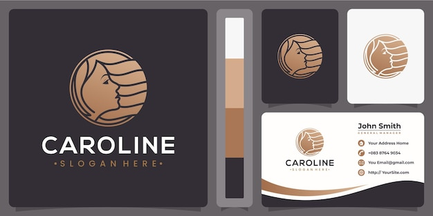 Haar vrouw luxe logo met visitekaartje concept