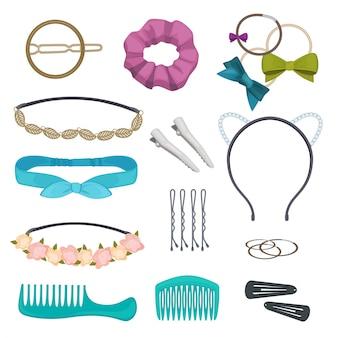Haaraccessoires. vrouw stijlvolle haar item clips bloemen bandana's gags bogen elastische banden hoepels cartoon