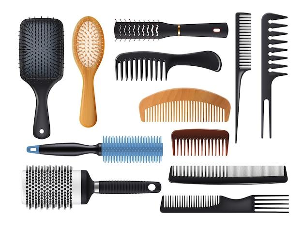 Haarborstels en kammen realistische vector set. geïsoleerde haarborstels, kapper en kappershulpmiddelen. haarverzorgings- of kapsalonaccessoires van kunststof, metaal en hout, 3d-paddles en ronde haarborstels