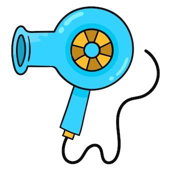Haardroger elektronisch object. kartonnen emoticon. doodle pictogram tekening, vectorillustratie