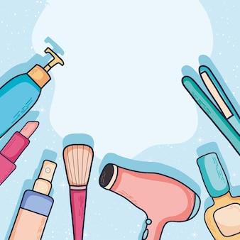 Haardroger en stijltang met make-upcollectie