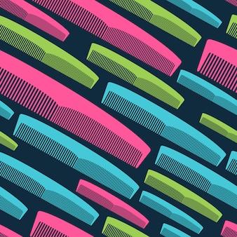 Haarkam naadloos patroon in heldere kleuren.
