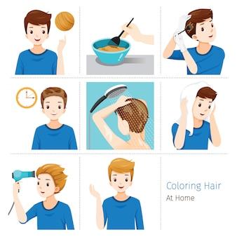 Haarkleuring proces. stappen van de jonge mens die zijn eigen haar van brunette tot blonde thuis kleurt
