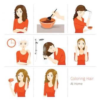 Haarkleuring proces. stappen van een jonge vrouw die haar eigen haar van brunette tot blondine thuis kleurt