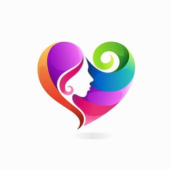 Haarkleurlogo met liefdesconcept