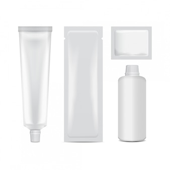 Haarkleurset pakket - tube, stok, fles, sashet. rrealistische sjabloon