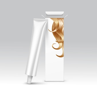 Haarkleurstof shampoo balsambalsem masker verpakkingsverpakking pack box tube op achtergrond