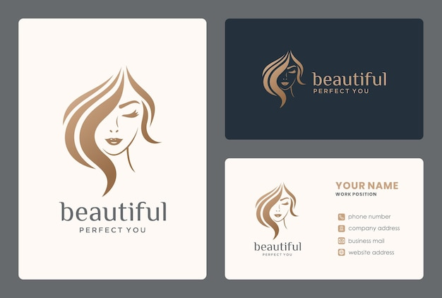 Haarschoonheid logo voor salon, make-over, kapper, kapper, kapsel.