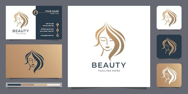 Haarschoonheidslogo voor salon en spa, make-over, kapper, kapsel, vrouwelijk salonlogo, inspiratie