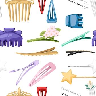 Haarspelden en haarclip voor vrouwelijk salonconcept