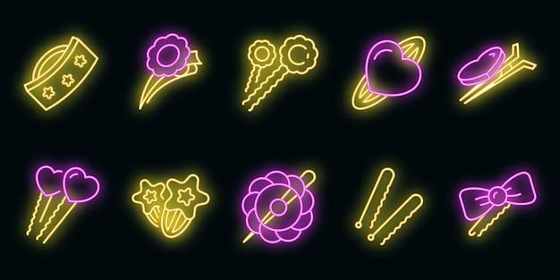 Haarspeldje pictogrammen instellen. overzicht set van haarspeld vector iconen neon kleur op zwart